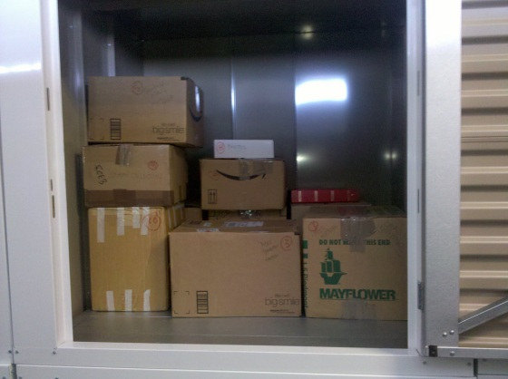 A storage unit with packed boxes