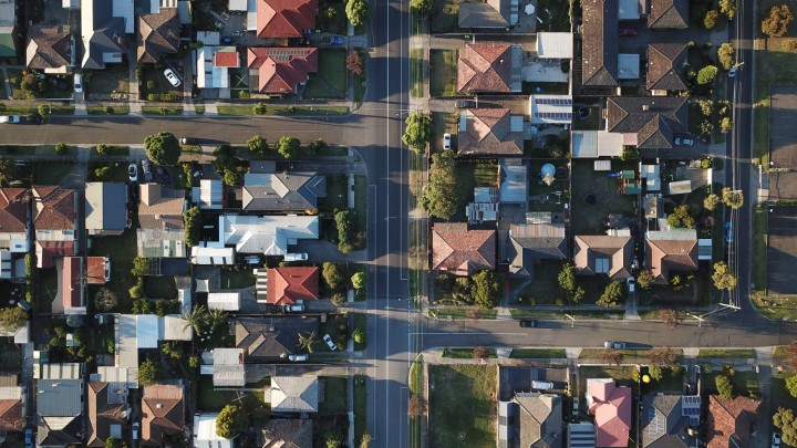 a top down view of a suburban neighborhood