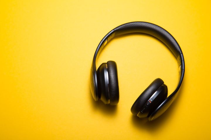 A pair of black headphones