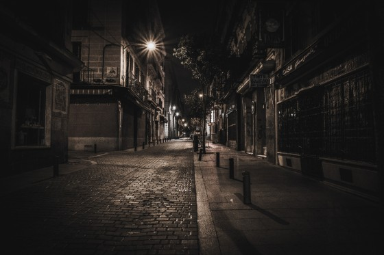 a dimly lit street